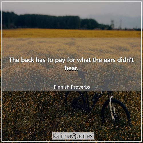 The back has to pay for what the ears didn't hear. - Finnish Proverbs