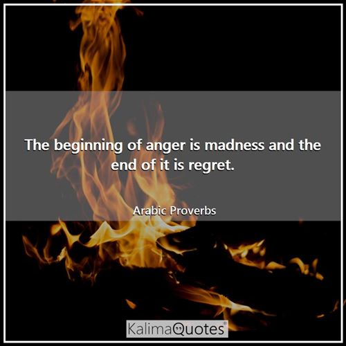 The beginning of anger is madness and the end of it is regret.