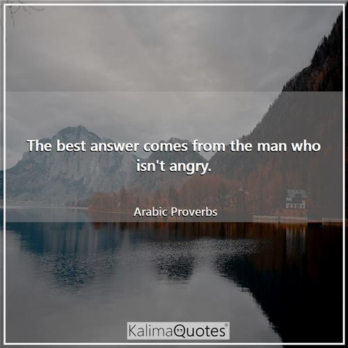 The best answer comes from the man who isn't angry. - Arabic Proverbs