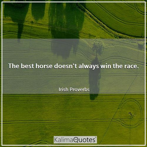 The best horse doesn't always win the race. - Irish Proverbs