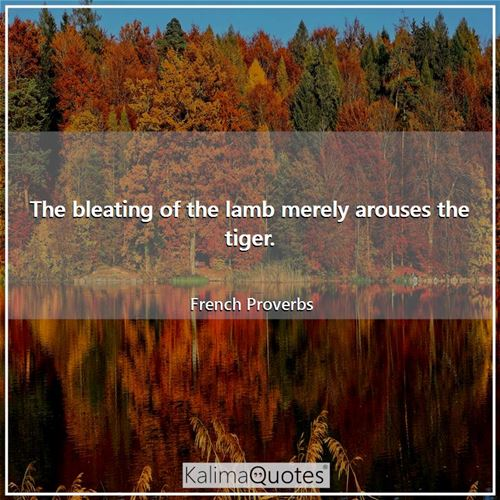 The bleating of the lamb merely arouses the tiger. - French Proverbs