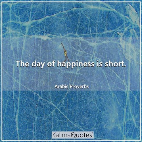 The day of happiness is short.