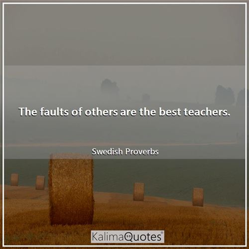 The faults of others are the best teachers.