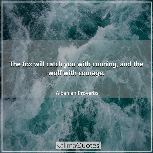The fox will catch you with cunning, and the wolf with courage.
