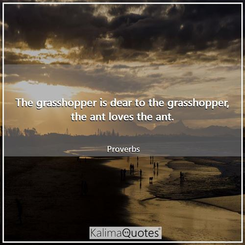 The grasshopper is dear to the grasshopper, the ant loves the ant.