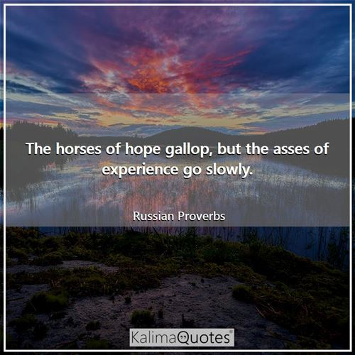 The horses of hope gallop, but the asses of experience go slowly.