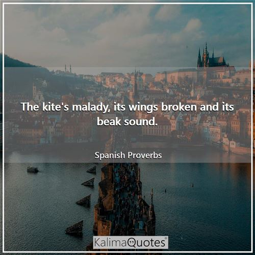 The kite's malady, its wings broken and its beak sound. - Spanish Proverbs