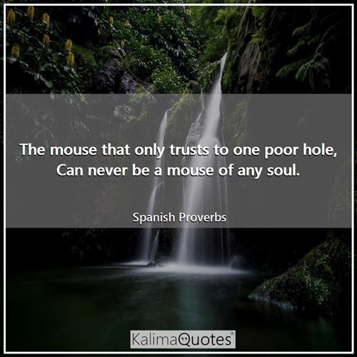 The mouse that only trusts to one poor hole, Can never be a mouse of any soul.