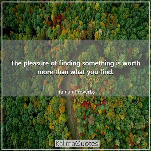 The pleasure of finding something is worth more than what you find.