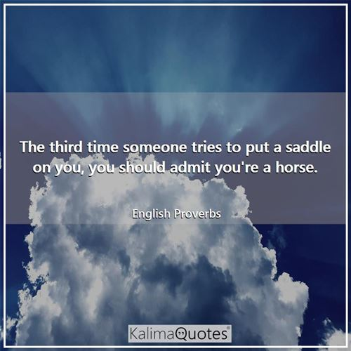 The third time someone tries to put a saddle on you, you should admit you're a horse.