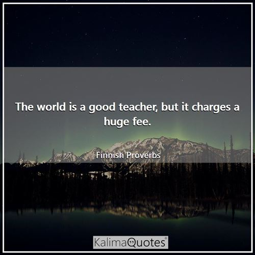 The world is a good teacher, but it charges a huge fee.