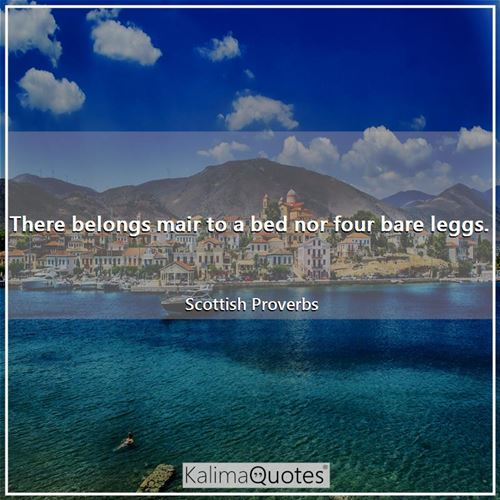 There belongs mair to a bed nor four bare leggs. - Scottish Proverbs