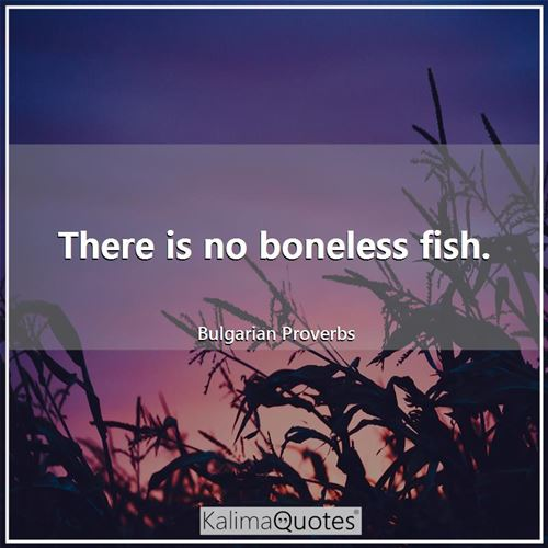 There is no boneless fish. - Bulgarian Proverbs
