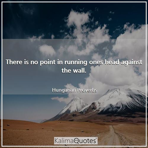There is no point in running ones head against the wall.
