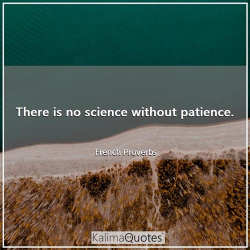 There is no science without patience.