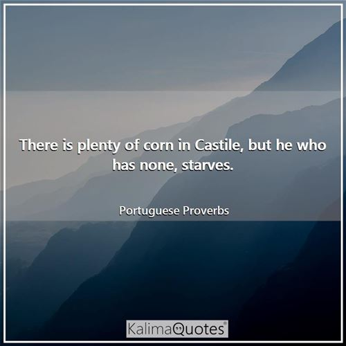 There is plenty of corn in Castile, but he who has none, starves.