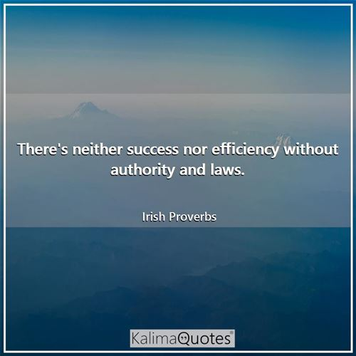 There's neither success nor efficiency without authority and laws.