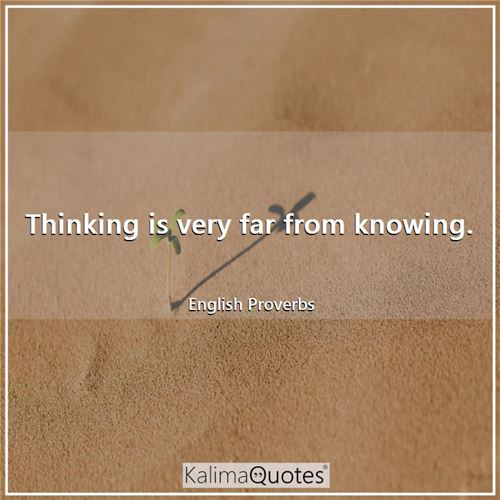 Thinking is very far from knowing.