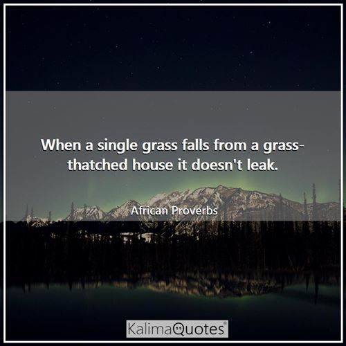 When a single grass falls from a grass-thatched house it doesn't leak.