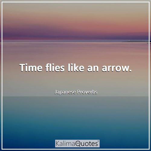 Time flies like an arrow. - Japanese Proverbs