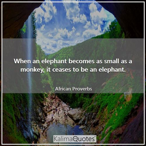 When an elephant becomes as small as a monkey, it ceases to be an elephant.