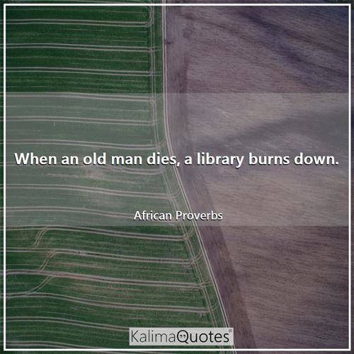When an old man dies, a library burns down. - African Proverbs