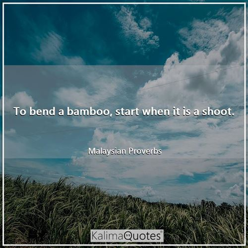 To bend a bamboo, start when it is a shoot.