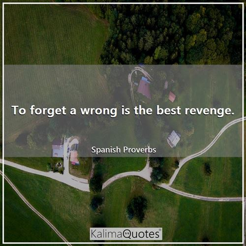 To forget a wrong is the best revenge. - Spanish Proverbs