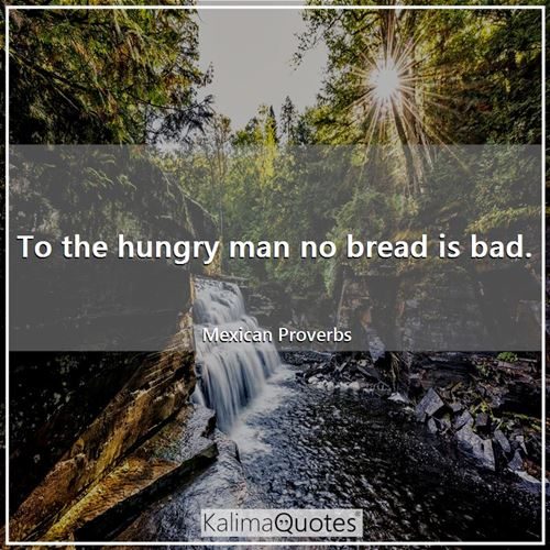 To the hungry man no bread is bad.