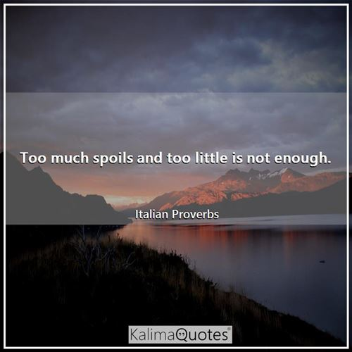 Too much spoils and too little is not enough. - Italian Proverbs