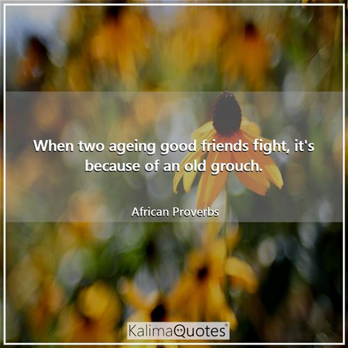 When two ageing good friends fight, it's because of an old grouch. - African Proverbs