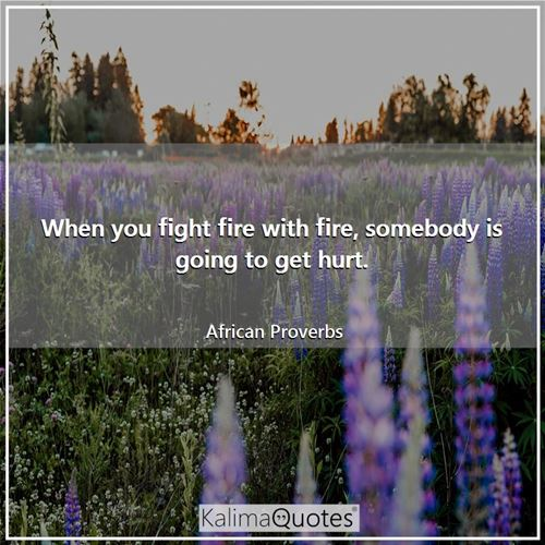 When you fight fire with fire, somebody is going to get hurt. - African Proverbs