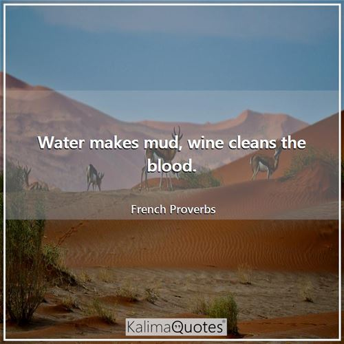 Water makes mud, wine cleans the blood.