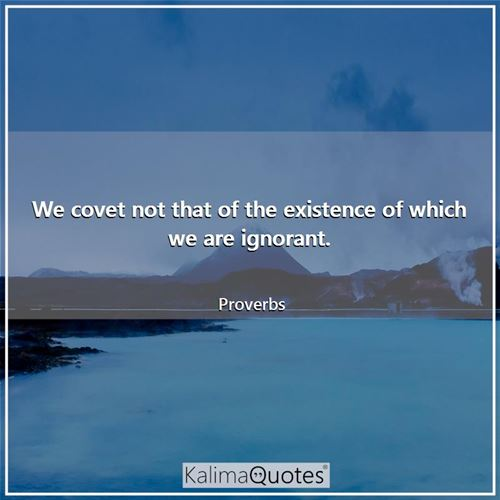 We covet not that of the existence of which we are ignorant. - Proverbs