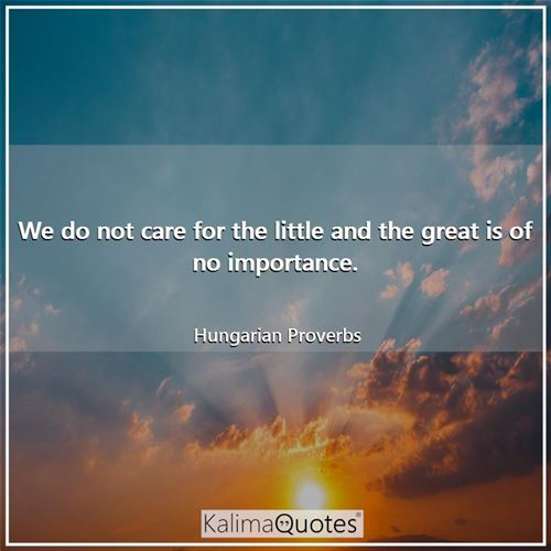 We do not care for the little and the great is of no importance. - Hungarian Proverbs