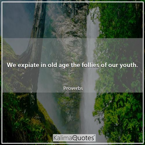 We expiate in old age the follies of our youth.