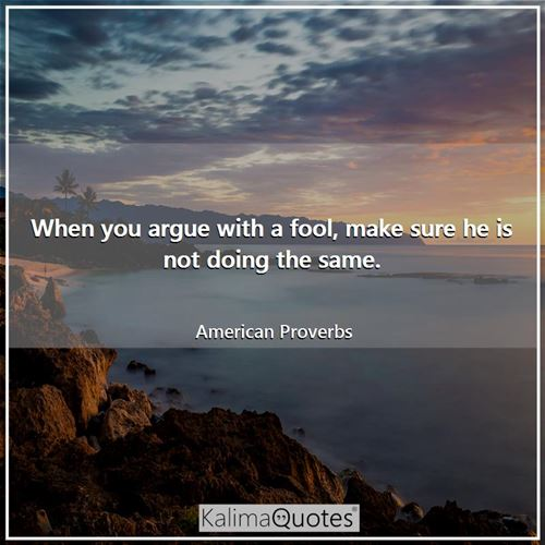 When you argue with a fool, make sure he is not doing the same. - American Proverbs