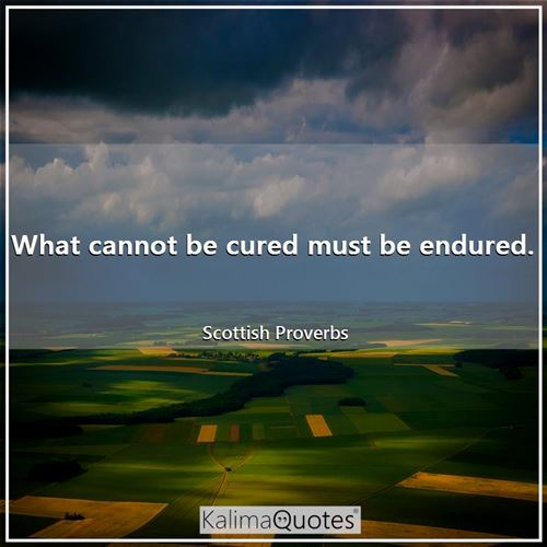 What cannot be cured must be endured. - Scottish Proverbs