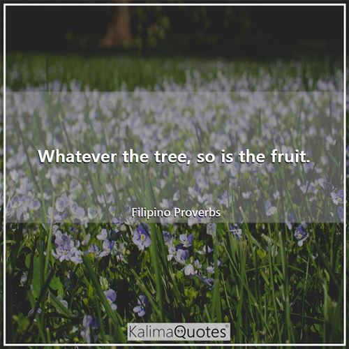 Whatever the tree, so is the fruit. - Filipino Proverbs