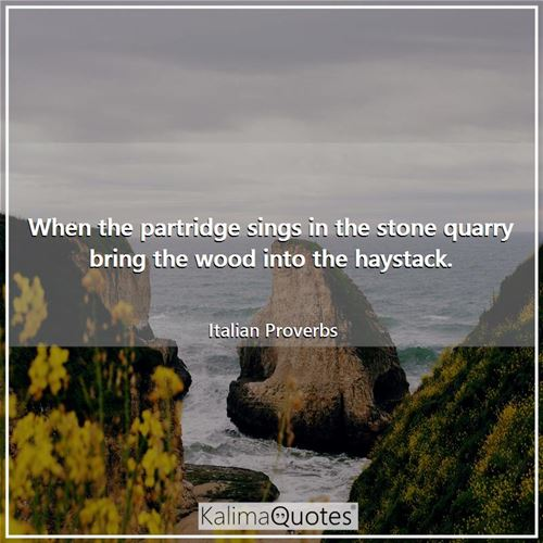 When the partridge sings in the stone quarry bring the wood into the haystack. - Italian Proverbs