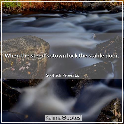 When the steed's stown lock the stable door. - Scottish Proverbs