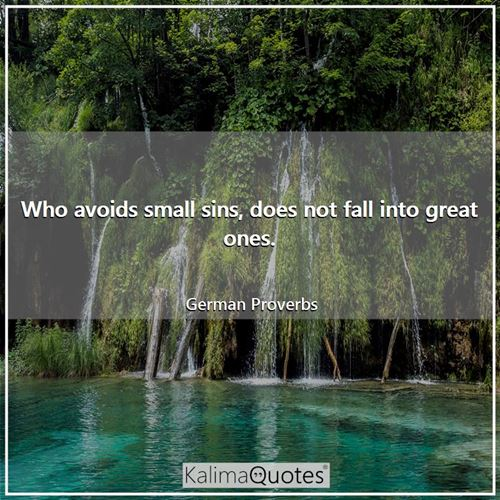 Who avoids small sins, does not fall into great ones. - German Proverbs