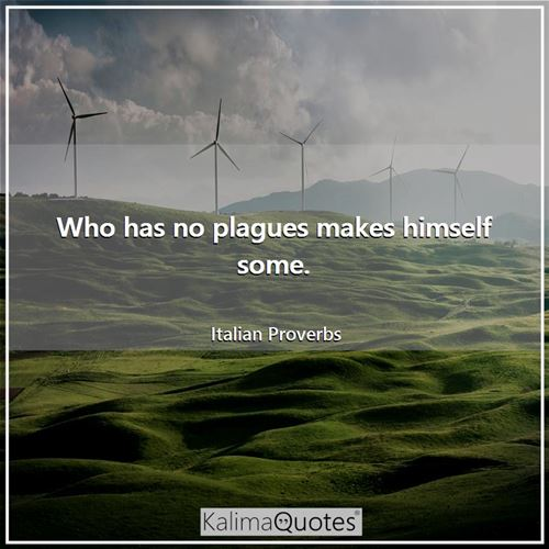 Who has no plagues makes himself some.