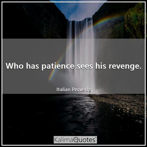 Who has patience sees his revenge.
