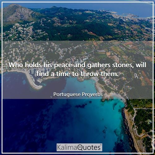 Who holds his peace and gathers stones, will find a time to throw them. - Portuguese Proverbs