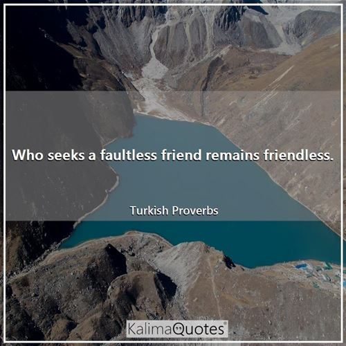 Who seeks a faultless friend remains friendless.