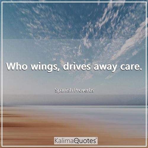 Who wings, drives away care. - Spanish Proverbs