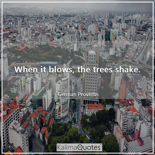 When it blows, the trees shake. - German Proverbs