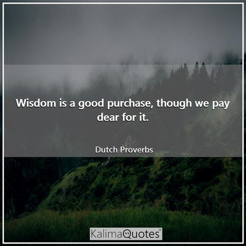 Wisdom is a good purchase, though we pay dear for it.