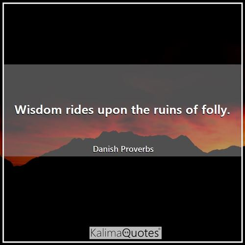 Wisdom rides upon the ruins of folly.